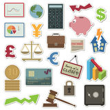 Finance stickers. Collection of stickers - money and finance Royalty Free Stock Photography