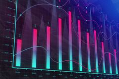Finance and stock concept. Creative colorful forex chart background. Finance and stock concept. 3D Rendering Stock Photos
