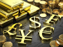 Finance, Stock exchange concept - Gold bars, coins and gold currency signs. 3d illustration stock illustration