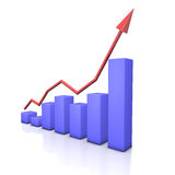 Finance Stock Graph. Blue graph with red arrow on the white background Royalty Free Stock Photo