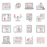 Finance and stock line icons, investment strategy linear signs vector. Finance chart and graph, illustration finance banking icons on linear style Royalty Free Stock Photos