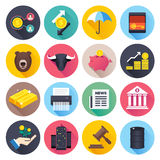 Finance and Stock Market Flat Icon Set Stock Photos
