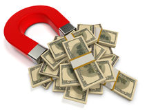 Finance success concept. Red magnet attracts dollar banknotes Stock Photo