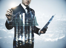 Finance, success, trading and analysis concept Royalty Free Stock Image
