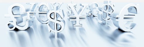 Finance symbols. 3d illustration of currency symbols Royalty Free Stock Images