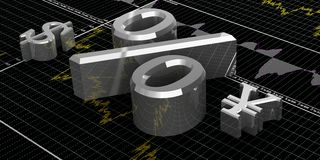 Finance symbols. 3d illustration of currency symbols Stock Photography