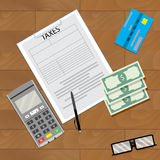 Finance tax and credit card machine. Accounting business on wooden table. Vector illustration Royalty Free Stock Images