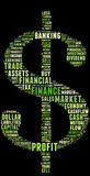 Finance terms info-text. Graphics and arrangement word clouds illustration with dollar sign concept Stock Photos
