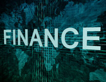 Finance. Text concept on green digital world map background Stock Images
