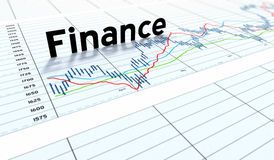 Finance text graph money. Angled spreadsheet with the word finance in focus on middle of graph Stock Images