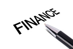 Finance Text Writing. Black pen, isolated on white background Stock Photos
