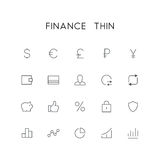 Finance thin icon set. Dollar, euro, pound, ruble, wallet, credit card, exchange, graph and others simple vector symbols. Bank, money and currency signs Royalty Free Stock Images