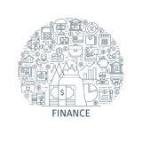 Finance thin line concept. Finance concept. Design template with thin line icons on theme market analysis, financial planning, financial management and Royalty Free Stock Images