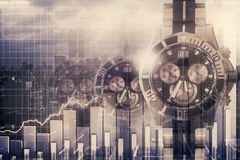 Finance and time management concept. Abstract clocks on city background with business chart. Finance and time management concept. Double exposure Royalty Free Stock Photography