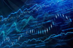 Finance, trade, analysis and market concept. Creative glowing forex chart background. Finance, trade, analysis and market concept. 3D Rendering Royalty Free Stock Images