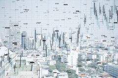 FInance and trade backdrop. FInance and trade concept. Creative white city backdrop with forex chart. Double exposure vector illustration