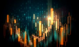 Finance and trade concept. Creative  glowing forex chart background with binary code. Finance and trade concept. 3D Rendering royalty free illustration