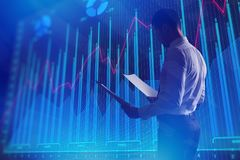 Finance and trade concept. Side view of young businessman with document standing on abstract blue forex chart background. Finance and trade concept. 3D Rendering Royalty Free Stock Image
