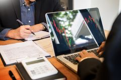 Finance trade manager showing reports screen analysis finance cu Stock Photography