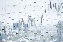 FInance and trade wallpaper. FInance and trade concept. Creative white city wallpaper with forex chart. Double exposure stock illustration