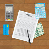 Finance transaction tax. Banking pay tax, business budget, vector illustration Royalty Free Stock Images