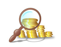 Finance under the magnifying glass. Illustration of golden coins under the magnifying glass Stock Photos