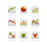 Finance vector icons. Vector illustration of finance and marketing icons, with trends arrows, graphs, bull and bear theories and stats Stock Photos