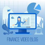 Finance video blog. Financial video blog. Promotion of banking services in the financial and investment market. Consultations with the accountant on deposits Stock Photo