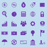 Finance violet icons on blue background Stock Images