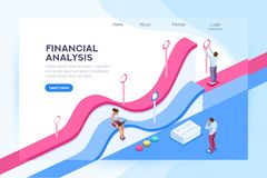 Finance Visualization and Analysis Database. Database and big team on a room. Web infrastructure for cloud traffic, data base concept. Isometric report header stock illustration