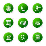Finance web 2 icons. Vector web icons, green sticker series icon set Royalty Free Stock Photos