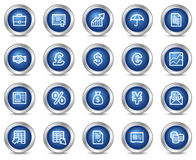 Finance web icons. Vector web icons, blue circle buttons series Stock Image