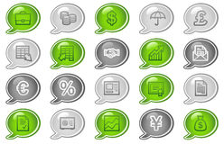 Finance web icons. Vector web icons, green and grey speech bubble series Royalty Free Stock Images