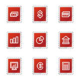 Finance web icons. Vector web icons, red stamp series, V2 Stock Illustration