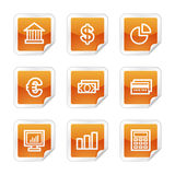 Finance web icons. Vector web icons, orange glossy sticker series, V2 Stock Photography