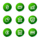 Finance web icons. Vector web icons, green sticker series icon set Royalty Free Stock Photo