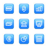 Finance web icons. Vector web icons, blue glossy buttons series, V2