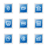 Finance web icons. Vector web icons, blue glossy stamp series, V2 Royalty Free Stock Images