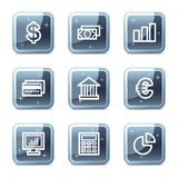 Finance web icons. Vector web icons, blue glossy mineral square buttons series Stock Photography
