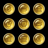 Finance web icons. Vector web icons, gold glossy circle buttons series Stock Images