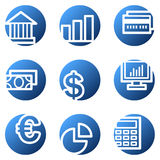 Finance web icons. Vector web icons, blue circle series Stock Image