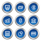Finance web icons. Web icons, blue electronics buttons series Royalty Free Stock Photography