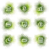 Finance web icons. Web icons, green dots series Stock Image