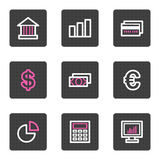 Finance web icons. Vector web icons, grey square buttons series Stock Photos