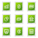 Finance web icons. Vector web icons, green stamp series Royalty Free Stock Image