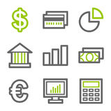 Finance web icons. Vector web icons, green and gray contour series Stock Photos