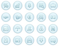 Finance web icons. Vector web icons, light blue circle buttons series Stock Photography