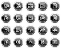 Finance web icons, black glossy circle buttons Stock Photo