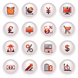 Finance web icons. Black and red series. Royalty Free Stock Photo