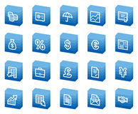 Finance web icons, blue box series. Banking web icons, blue box series Royalty Free Stock Image